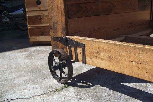 Buy Hand Crafted Steampunk Bed From Reclaimed Wood And