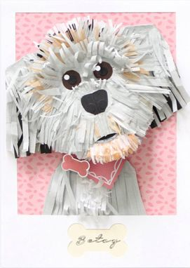 Custom Made Custom Dog Portrait Made From Paper 5 X 7