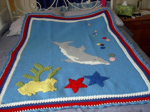 Custom Made Dolphin Afghan And Dolphin Toy Mate