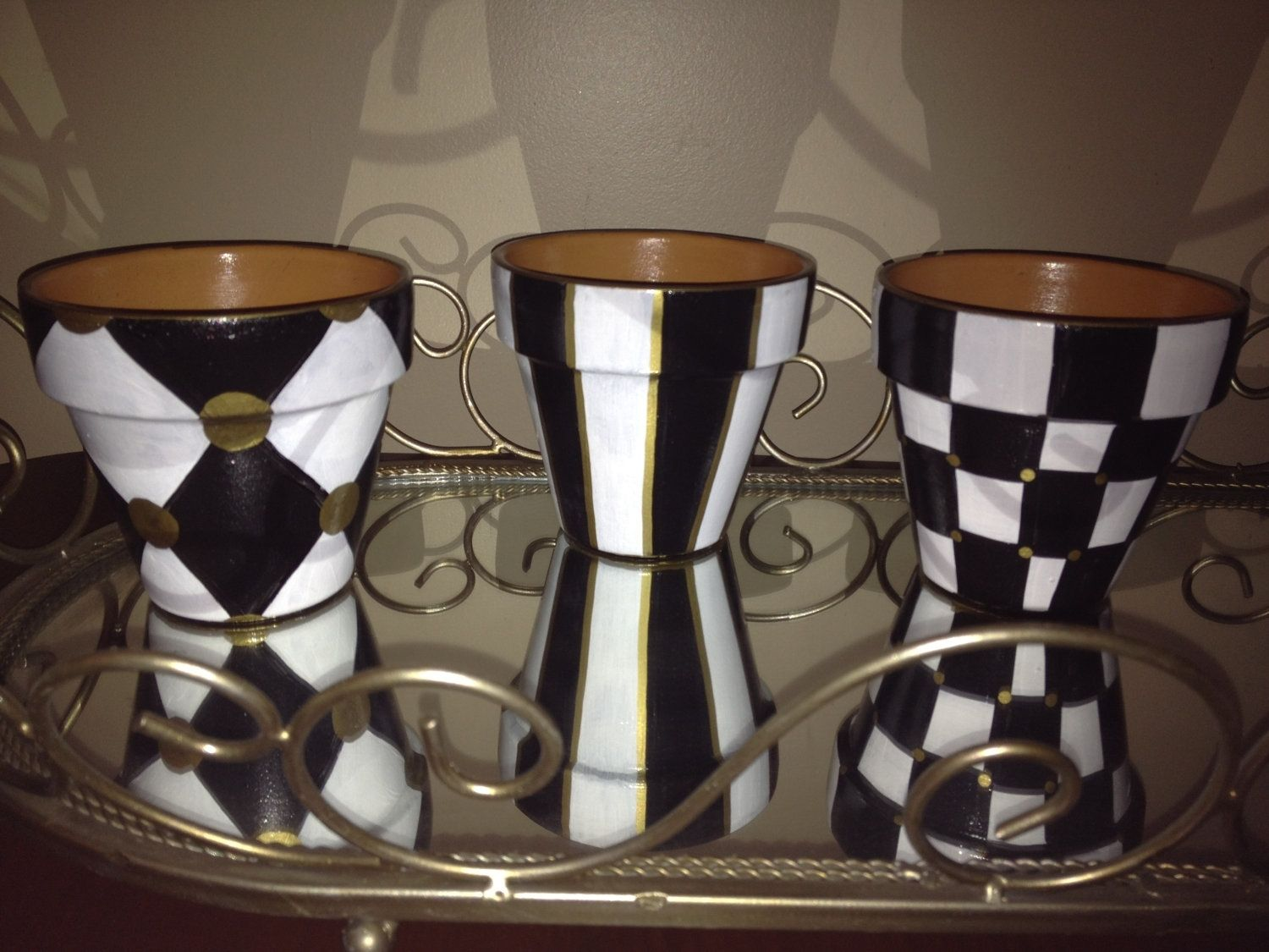 Handmade Hand Painted Black And White Terra Cotta Pots