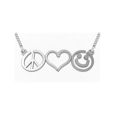 Custom Made Sterling Silver Peace Love And Happiness Necklace