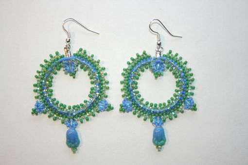 Custom Made Blue And Green Tulip Earrings