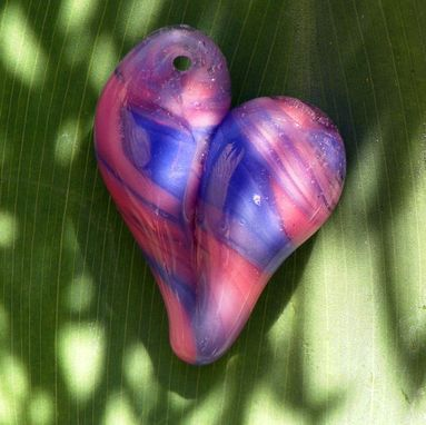 Custom Made Hand-Blown Glass Heart Pendant In Blue And Lavender Swirls