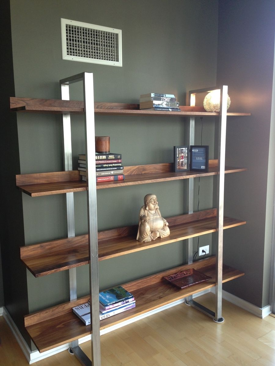 Hand Made Walnut Amp Stainless Steel Modern Bookcase By Metallums Custommade Com