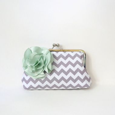 Custom Made Gray And Mint Green Clutch Purse With Flowers