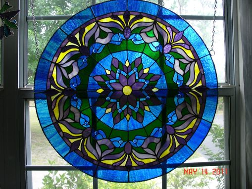 Custom Made Large Blue Mediallion Stained Glass Panel