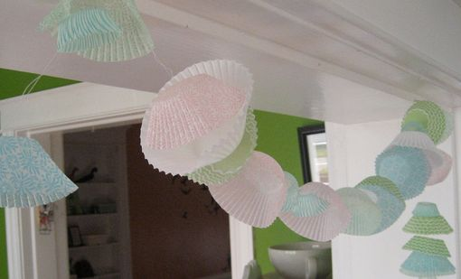 Custom Made Cupcake Paper Garland In Spring Pastels