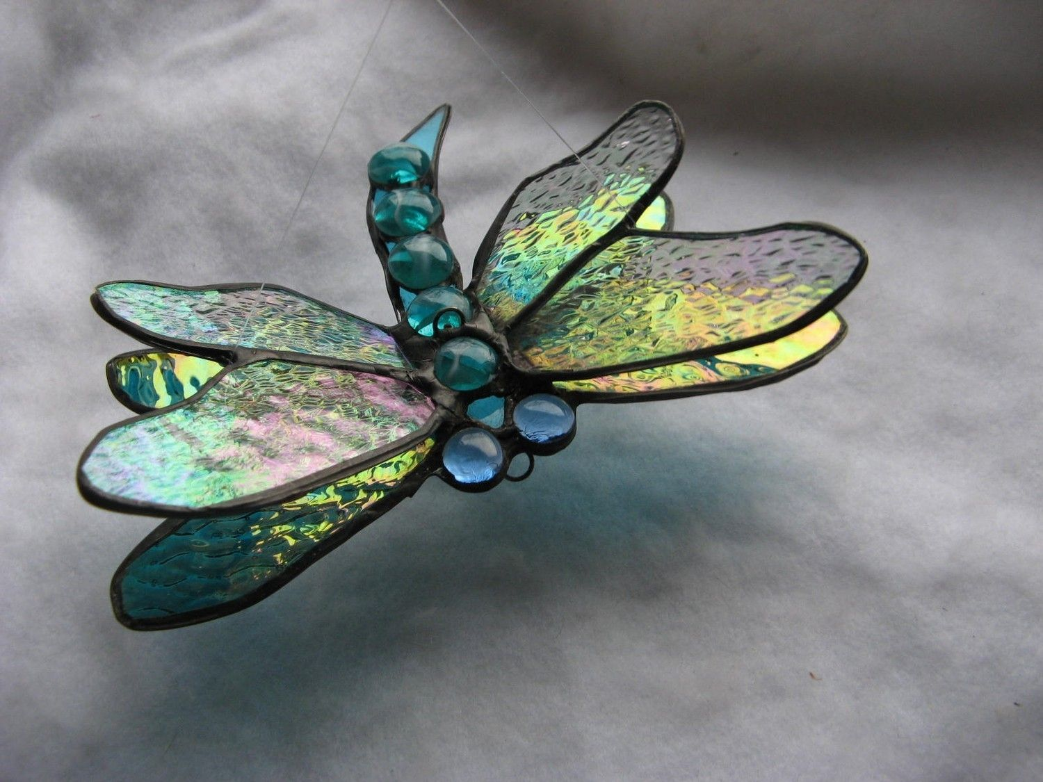 Hand Crafted Double Winged Dragonfly Stained Glass Art In