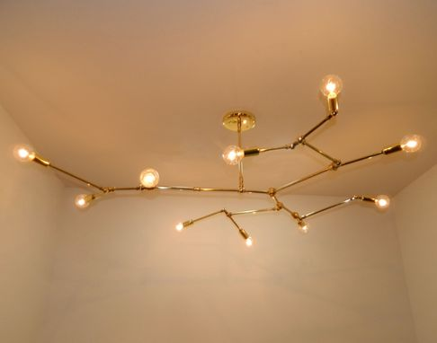 Custom Made Spithra 10-Bulb Brass Chandelier