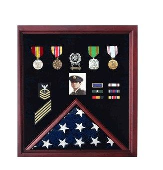 Custom Made Flag And Photo Display Case,Photo And Medal Display Case