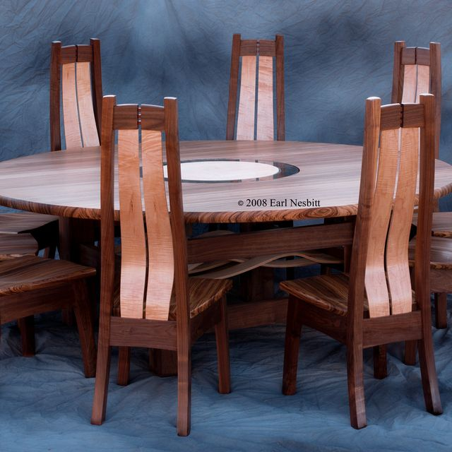 Handmade Round Dining Table Or Conference Table With Chairs By - Dining table for ten