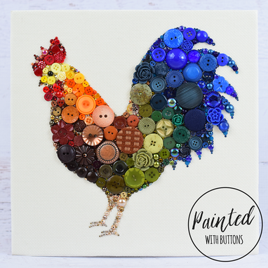 Buy Hand Made Custom Rooster Button Art Wall Hanging