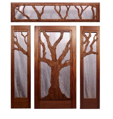 Custom Made Entry Door - Mahogany And Redwood - Hand Carved