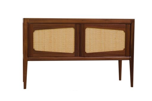 Custom Made Mid Century Modern Credenza, Entertaiment Center, Solid Wood Walnut