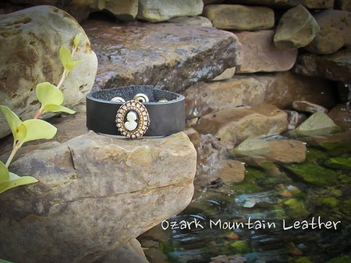 Custom Made Vintage Brooch Leather Cuff Bracelet