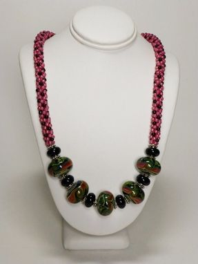 Custom Made Set - Rose Luster And Black Kumihimo Necklace With Lampwork Beads And Matching Earrings