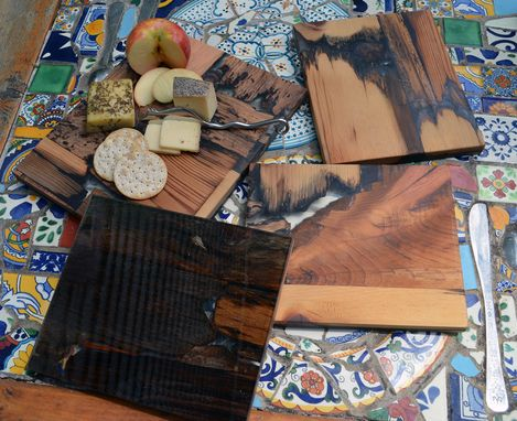 Custom Made Rustic Wood Mosaic Epoxy Resin Serving/Cutting Boards