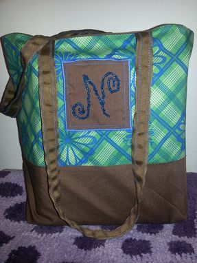 Custom Made Custom Made Fabric Tote Bag With Beaded Monogram