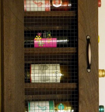 Custom Made Handcrafted Wine Cabinet With Early American Stained Finish