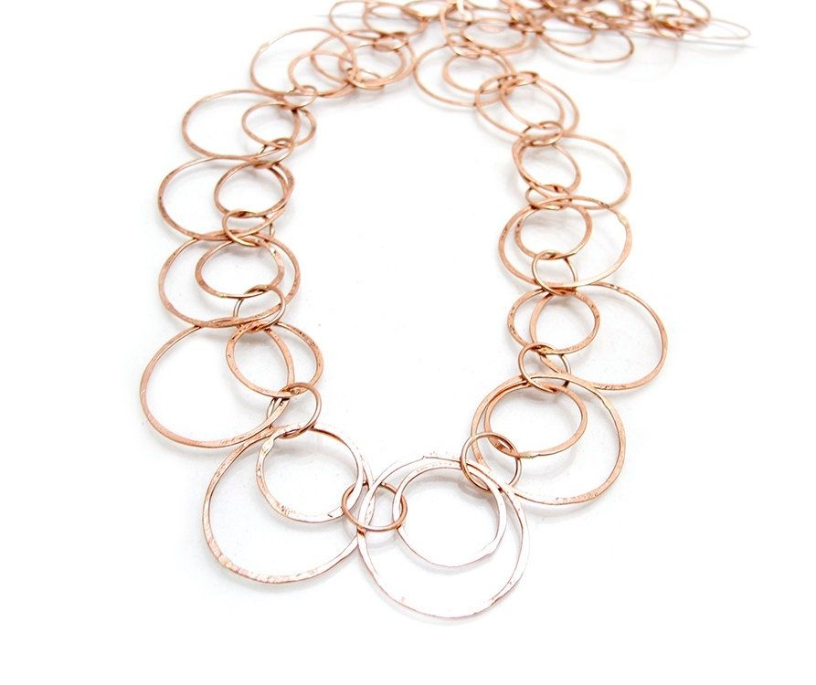 Vintage Wire Chain Jewelry Making Brass Chain Custom: Hand Crafted Gold Loop Necklace