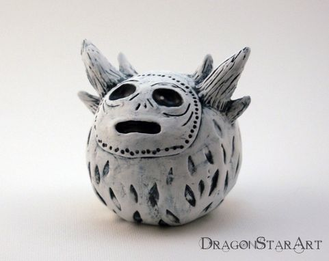 Custom Made Polymer Clay Monster Figurine Sculpture White Creature With Horns
