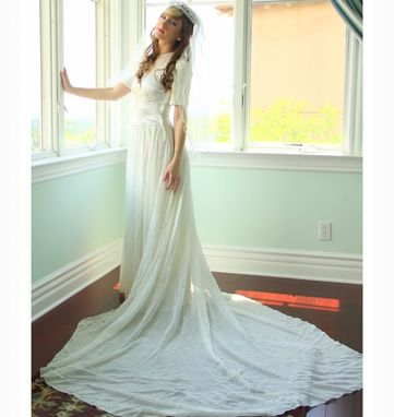 Custom Made Vintage 20s 30s Wedding Dress Silk Satin And Silk Chiffon Skirt & Nude Illusion Neckline