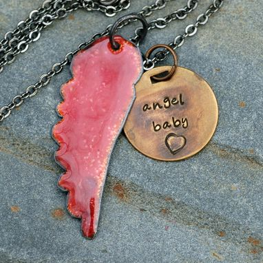 Custom Made Angel Wing Necklace Enameled Jewelry Handstamped Brass Tag Transparent Sun Pink Red - Angel Baby