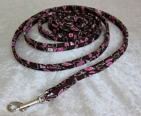 Custom Made Dog Leash. Fabric Wrapped Clothesline. Small To Medium Dog