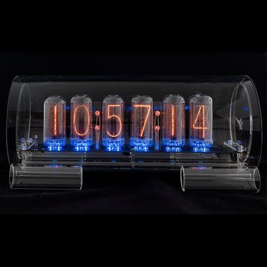Custom Made Large Glass Nixie Clock In-18 Model