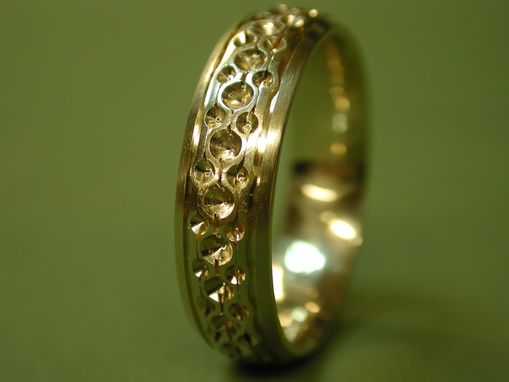 Custom Made Yellow Gold Ring With Punch Patterns.