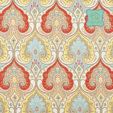 Custom Made Curtain Panels: Kravet Latika Paisley In Festival Red Blue Yellow Tan Linen Curtains 84l X 50w