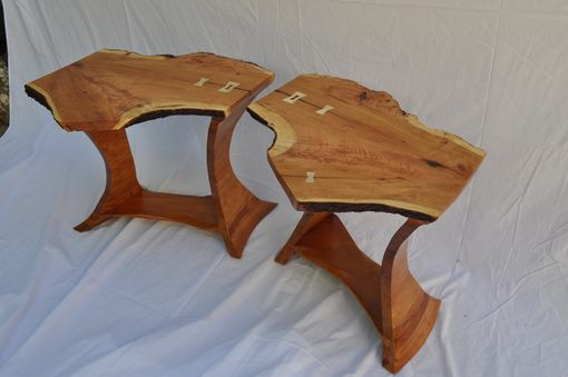 Custom Made Pair Of Cherry Side Tables With Sculpted Base. 1007