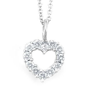 Custom Made Diamond Heart Pendant In 14k White Gold, Heart Pendant, Love Pendant