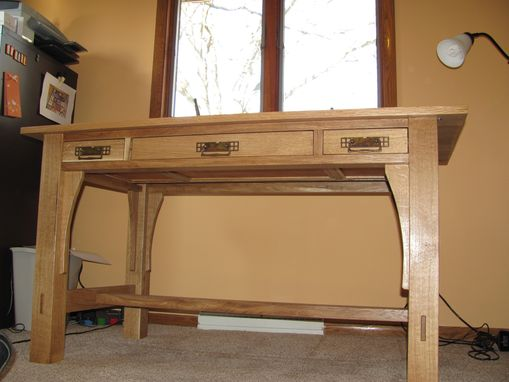 Custom Made Library Table, Craftsman Style, White Oak