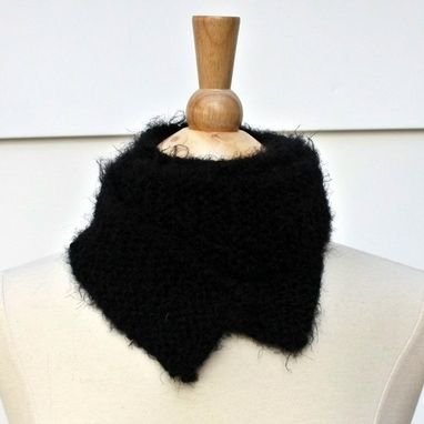 Custom Made Knit Scarf Black Winter Skinny Soft Plush Warm Long