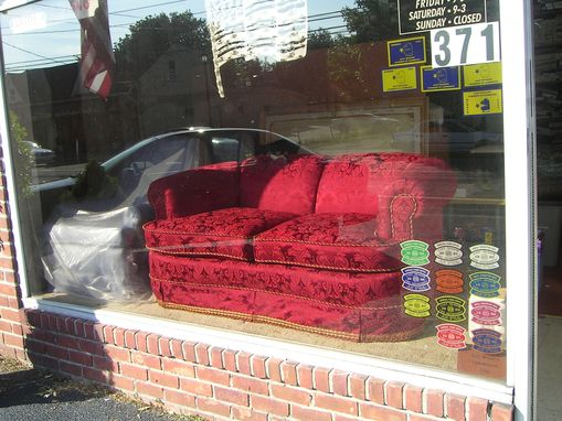 Custom Made Recovered Red Loveseat