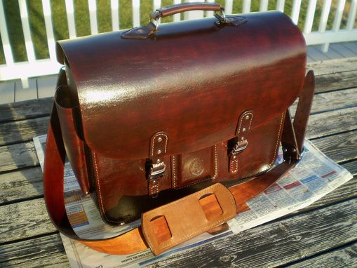 Custom Made Top Grain Leather Briefcase Attache Messenger Bag