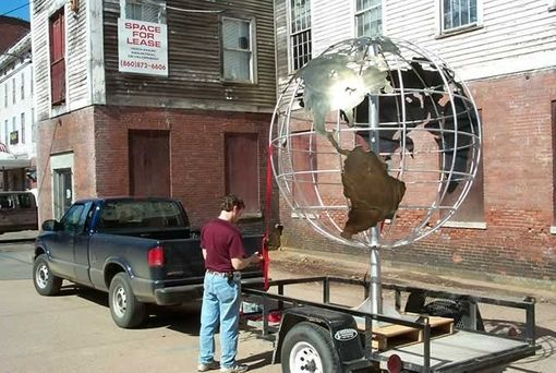 Custom Made 3d Globe With Dimensional Lettering Architectural Sign