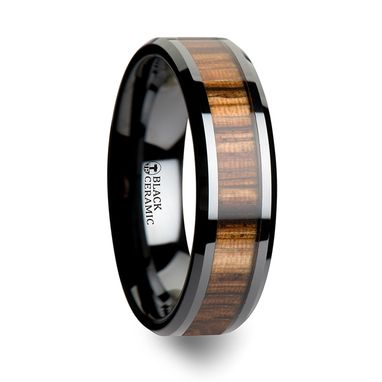 Custom Made Zebrano Black Ceramic Ring With Beveled Edges And Real Zebra Wood Inlay - 6mm - 10mm