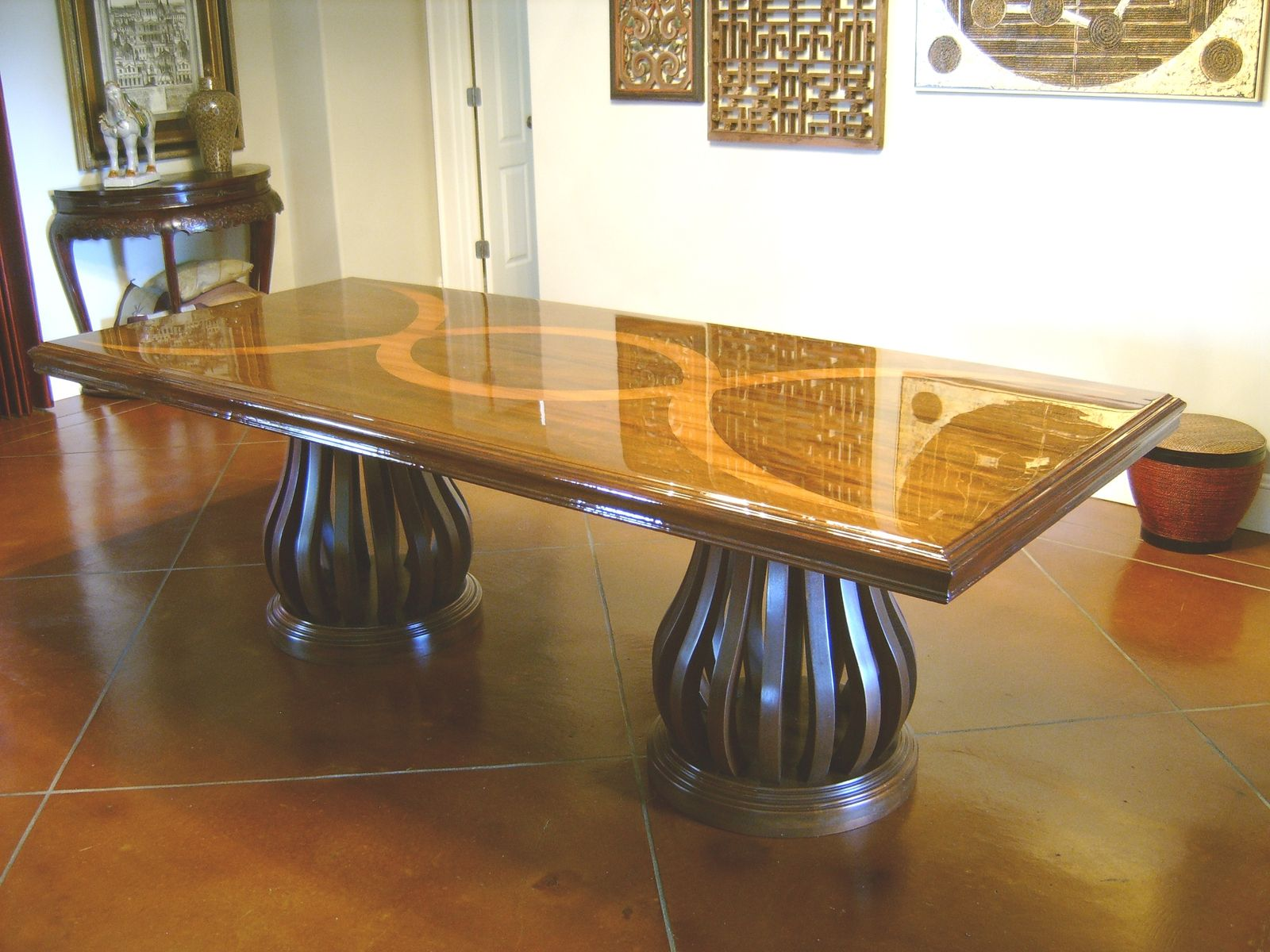 Custom Made Mahogany Dining Table With Teak Inlay
