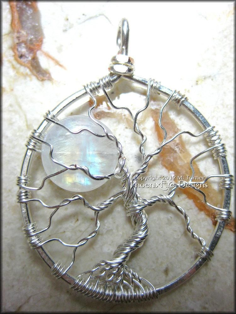 Hand Crafted Natural Rainbow Moonstone Full Moon Tree Of Life ...
