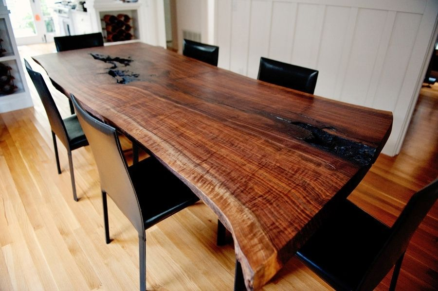 Custom Made Live Edge Modern Walnut Dining Table