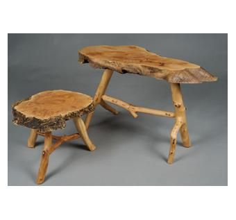 Custom Made Maple Burl Fireside Stools