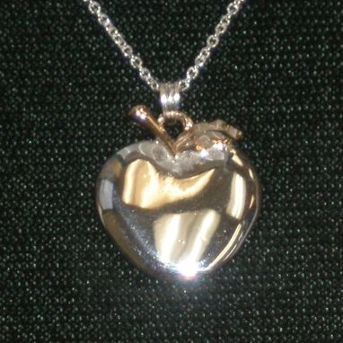 Custom Made Memorial Apple Pendant In Sterling Silver And 14k
