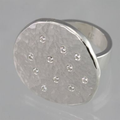 Custom Made Hammered Chunk Ring (Cubic Zirconia) Size 7.5