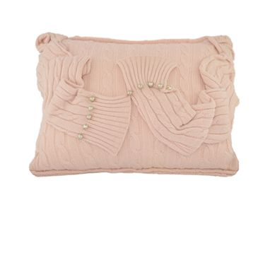 Custom Made Preppy Inspired Cable Cashmere Pillow Accented With Antique Baroque Pearl Beads