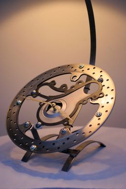 Custom Made Motorcycle Rotor Table Lamp With Clock