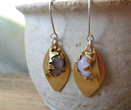 Custom Made Polished Brass Earrings With Lavender Glass Accents