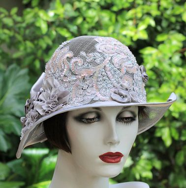 Custom Made 1920s Vintage Style Summer Cloche Wedding Hat Pearls Sequins Lace