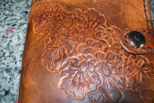 Custom Made Custom Leather Journal With Flower Design